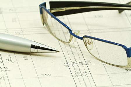 Blueprints detail background, architectural project  photo