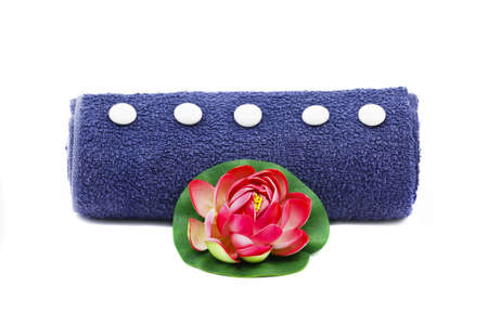 Beautiful decoration with blue towel and red flower isolated on white Stock Photo - 9653891