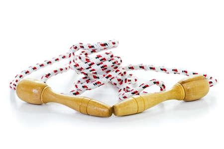 saltar la cuerda: Saltar la cuerda aisladas sobre fondo blanco