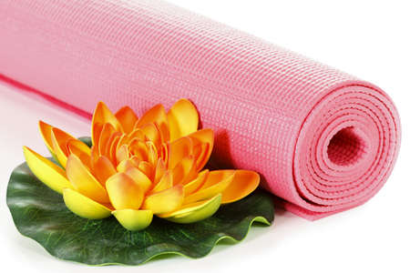oriental flower: Yoga mat with oriental flower on white background