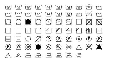 Washing symbols label set on white background, vector illustration. 向量圖像
