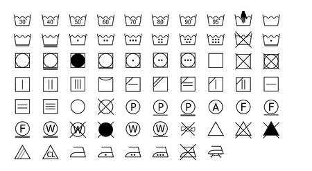 washing instructions icons set