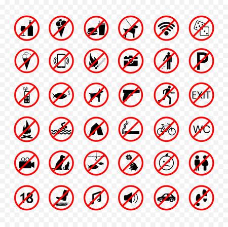 Ensemble de signes interdits, collection d'icônes d'interdiction Banque d'images - 88608406
