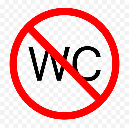 No wc sign on white background, vector illustration.