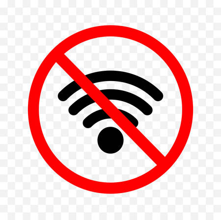 No wifi sign on white background, vector illustration.