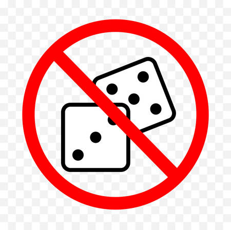 No gambling sign on white background, vector illustration.