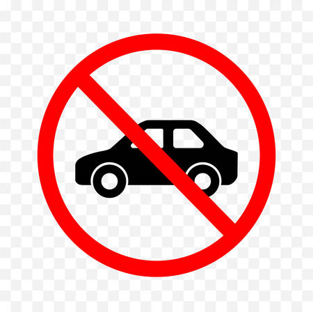 No vehicle sign on white background, vector illustration.