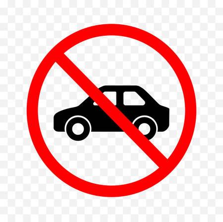 Geen voertuigteken op witte achtergrond, vectorillustratie.