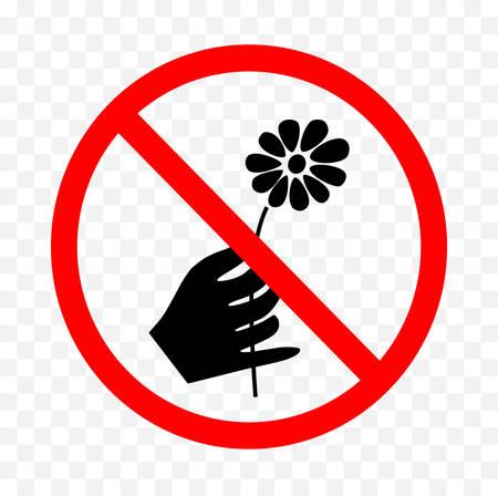 Aucune cueillette de fleurs ne signer sur fond blanc, illustration vectorielle. Banque d'images - 88608149