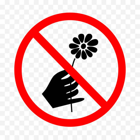 No picking flowers sign on white background, vector illustration. Ilustração