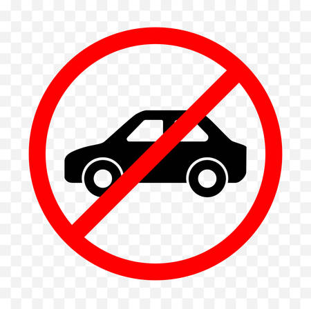restricted area sign: No vehicle sign on white background, vector illustration.