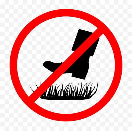 Do not step on grass sign on white background, vector illustration. Иллюстрация
