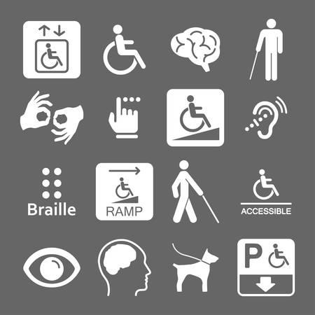 handicap icons set Vecteurs