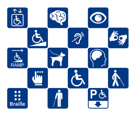 障害者のアイコンを設定  イラスト・ベクター素材