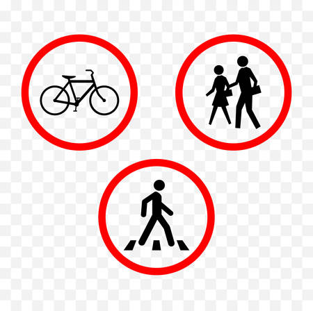 Pedestrians and cyclists warning sign illustration. Çizim