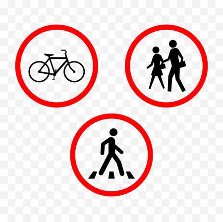 Voetgangers en fietsers die tekenillustratie waarschuwen.