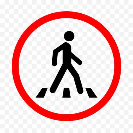 Pedestrians warning sign. Illustration