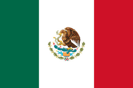Mexico national flag real colors.