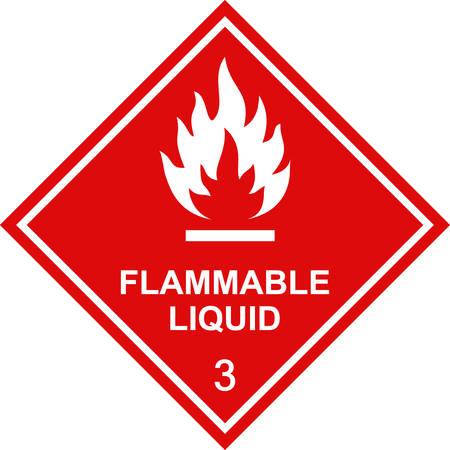 Étiquette de carré rouge liquide inflammable.