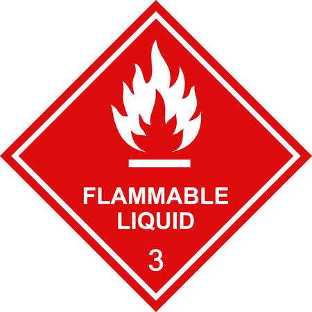 Flammable liquid sign red square label. Vectores