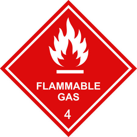 Flammable gas sign red square label. Illustration