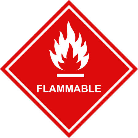 Flammable icon red square label.