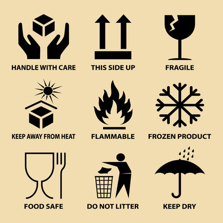 Set of packaging icons, packing cargo labels, delivery service symbols for boxes, shipping symbols