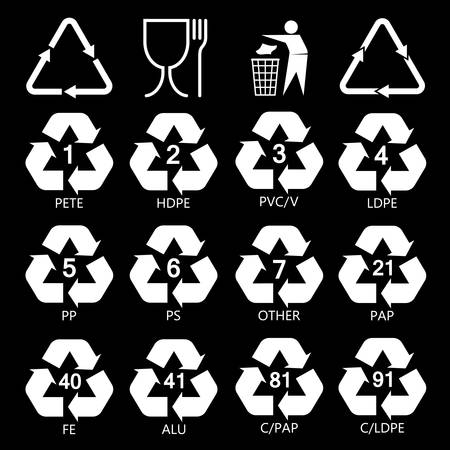 Resin Identification Code Icons Set Marking Of Plastic Products