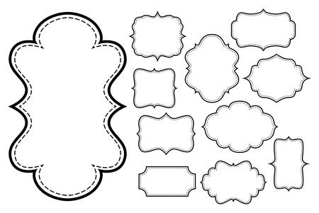 set of vintage style frames, white fill black stroke and dashed outline frame Illustration