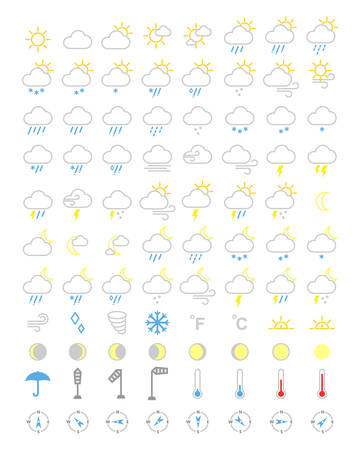 Weather icons set, forecasts editable icons illustration.