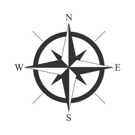 Wind rose vintage compass icon Vectores
