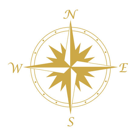 Compass icon, wind rose vintage compass icon Illustration