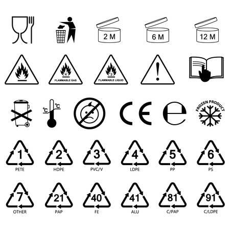 packaging information label icons, packaging label symbols, labels, no fill, black outline Vettoriali