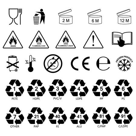 packaging information label icons, packaging label symbols, labels, no fill, black outline Ilustrace