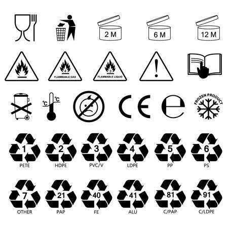 verpakking informatie etiket pictogrammen, verpakking etiket symbolen, etiketten, geen vulling, zwarte omtrek