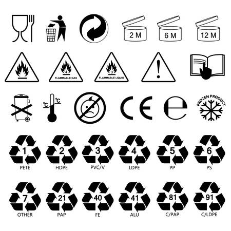 packaging information label icons, packaging label symbols, labels, no fill, black outline Vettoriali