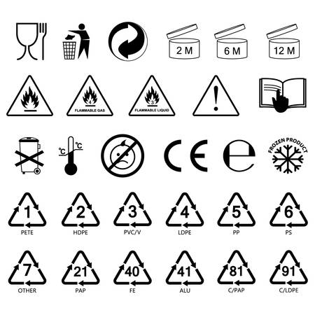packaging information label icons, packaging label symbols, labels, no fill, black outline Vectores
