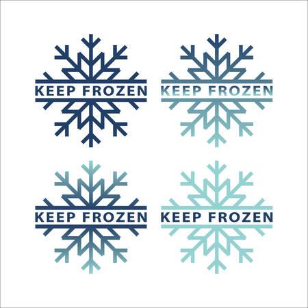 Frozen product icon set. Frozen food packaging stickers. Keep frozen label. Illusztráció