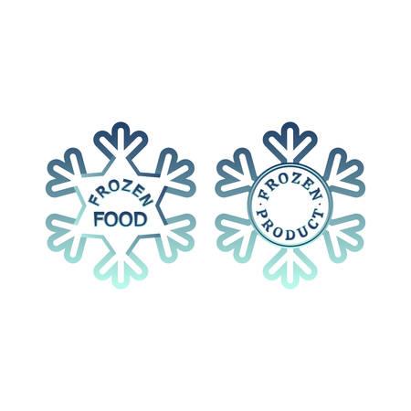 Frozen product icon set. Frozen food packaging stickers. Keep frozen label. Illustration