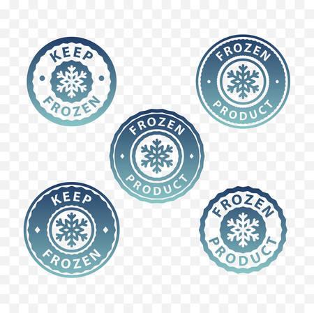 Keep frozen product packaging label vector illustration set
