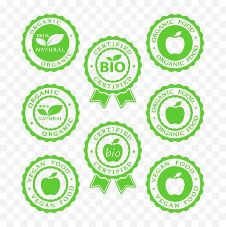 바이오, 완전 채식, 유기농 식품 및 제품 아이콘을 설정합니다.