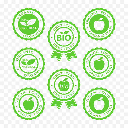 Bio, vegan, organic food and products icon set. Ilustração