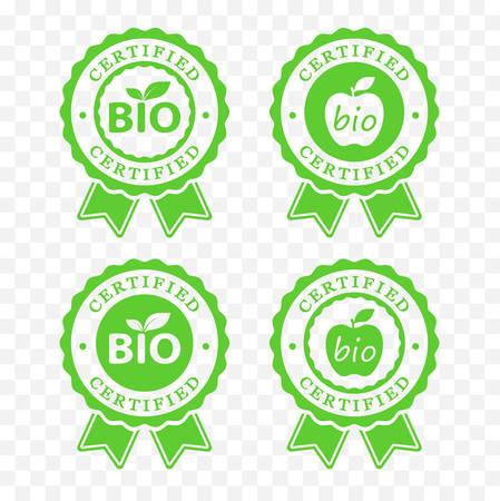 Bio certified batch labels set.
