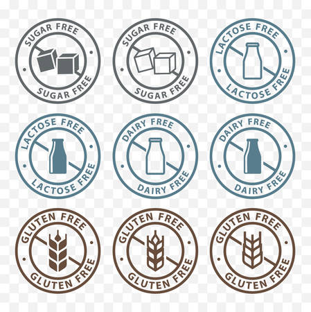 Sugar free, dairy free, lactose free and gluten free packaging sticker label icons Vettoriali