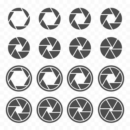 camera shutter icons set, aperture value icons, objective lens symbol set