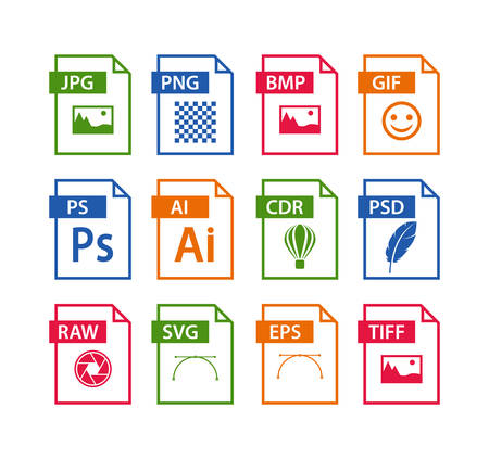 file format icon set. images file type icons. pictures file format icons Vector illustration.