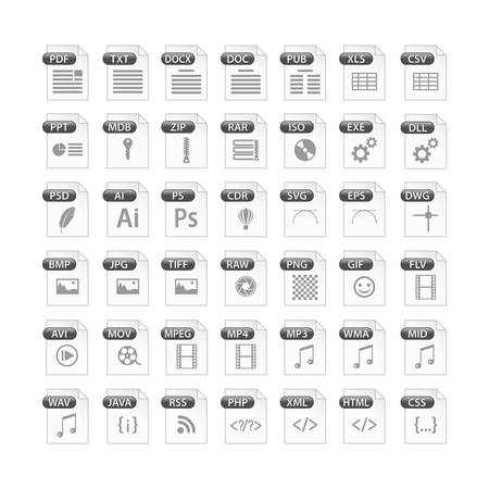grey set of file type icons. file format icon set in black and white, files symbols buttons