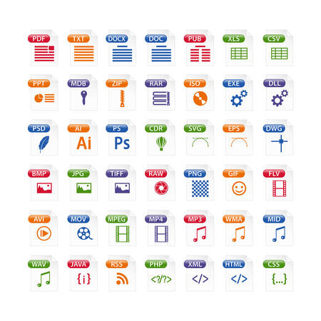 colorful set of file type icons. file format icon set in color, files symbols buttons