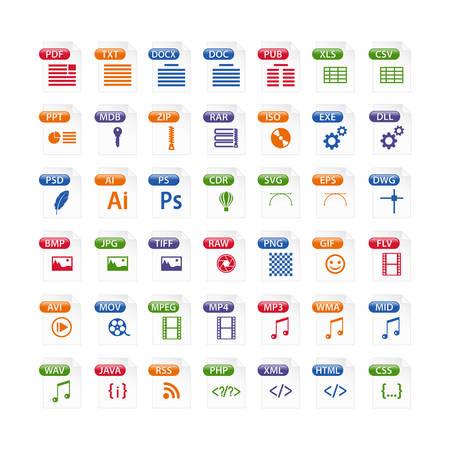 Colorido conjunto de iconos de tipo de archivo. icono de formato de archivo en color, botones de símbolos de archivos Ilustración de vector