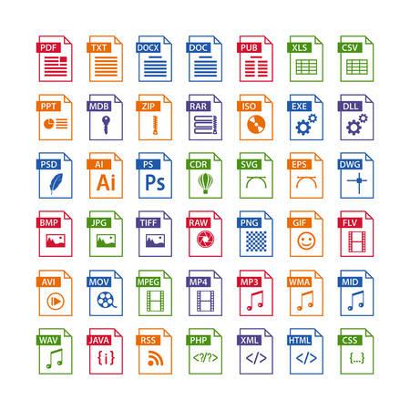 Colorido conjunto de iconos de tipo de archivo. icono de formato de archivo en color, botones de símbolos de archivos